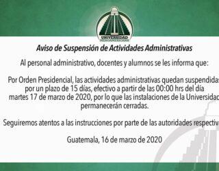Aviso de Suspensión Actividades Administrativas