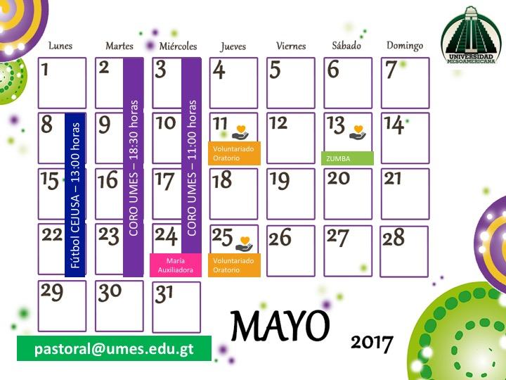 Actividades de Pastoral – Mayo 2017